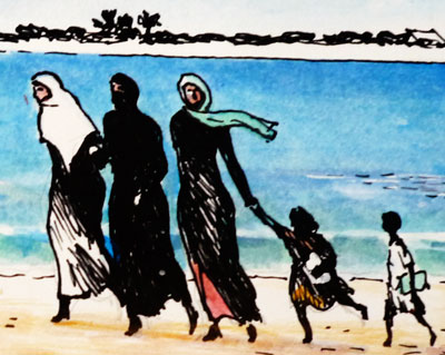 Families on Beach (detail)