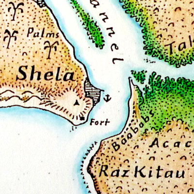 Map of Lamu & Manda Islands (detail)