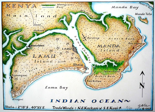 Map of Lamu & Manda Islands