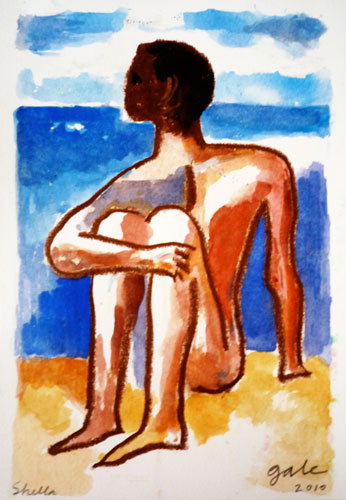 Seated Figure and Sea