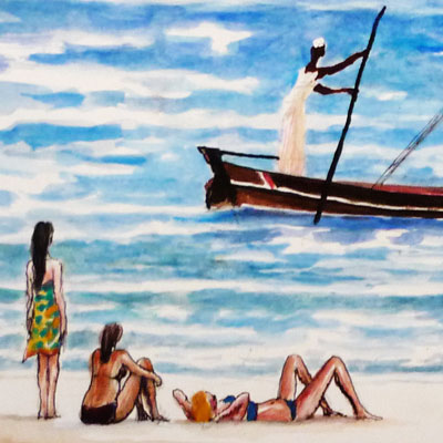 Shella Beach Scene with Dhow (detail)