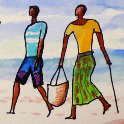 Shella Beach Scene with Dhow II (detail)