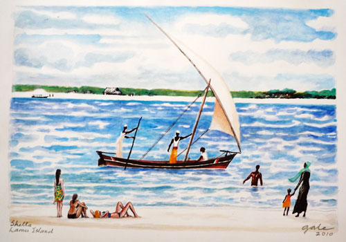 Shella Beach Scene with Dhow