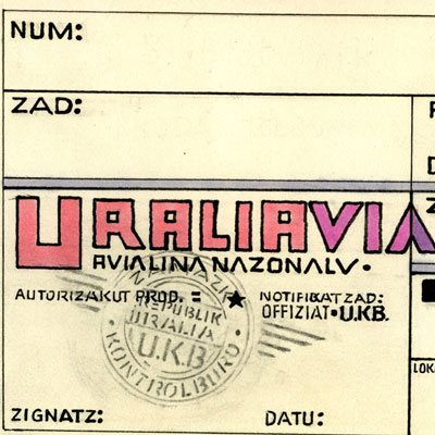 Uralavia Airlines Ticket (detail)