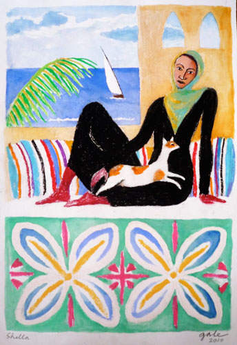 Woman with Cat II