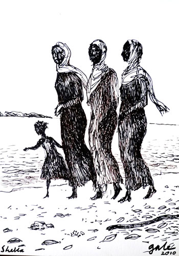 Women and Child on Beach