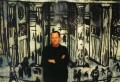 The artist Bob Gale in front of one of his Berlin Wall/Brandenburg Gate images