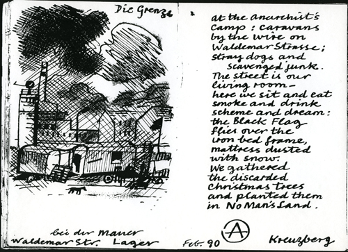 Anarchist camp at Waldemarstrasse Berlin by Bob Gale (1990)