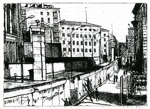 The Berlin Wall at Niederkirchnerstrasse by Bob Gale (1990)
