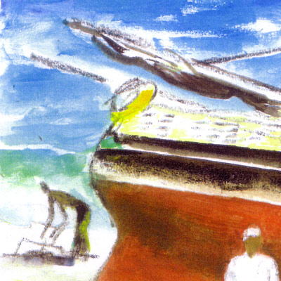 Dhow on Beach with Figures (detail)