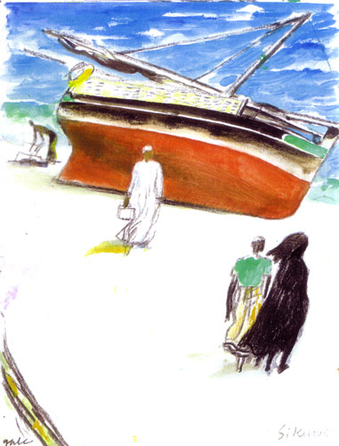 Dhow on Beach with Figures
