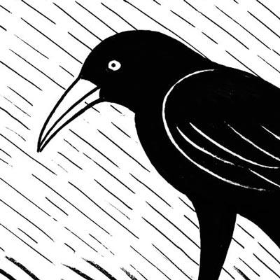 Raven in the Rain (detail)