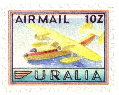 Uralia Aviation Stamps (detail)