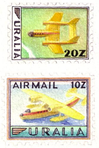 Uralia Aviation Stamps