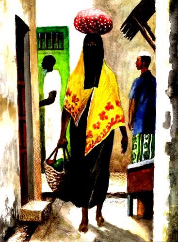 Veiled Woman in Lamu Town